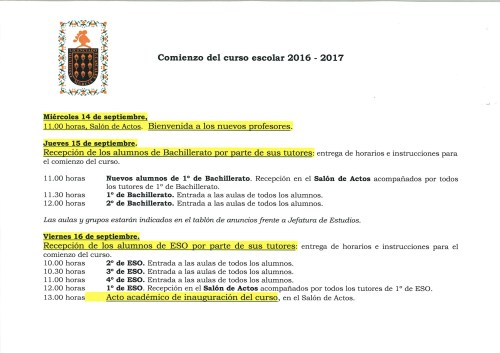 Comienzo del curso 2016-2017